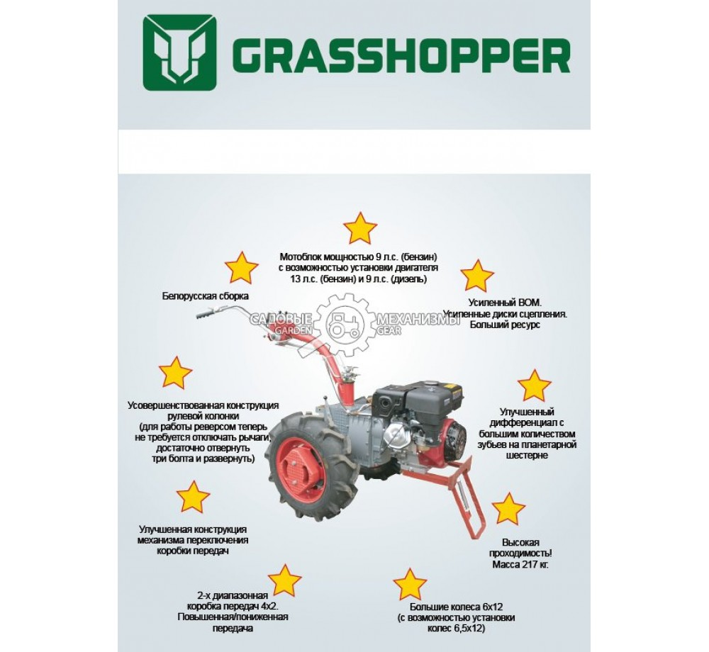 Мотоблок Grasshopper 188F | 6,5x12